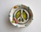Peace Sign Ring Dish, Flower Peace Sign trinket dish