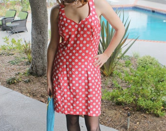 Vintage Pink Polka Dot Criss-Cross Back Sweetheart Neckline Dress
