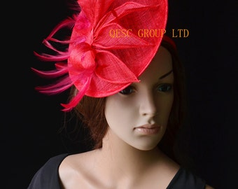 Red Sinamay Fascinator hat with feather&sinamay leaves for kentucky derby,melbourne cup,ascot races,wedding,garden party