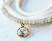 Choker - White Choker - Wrap Bracelet - Rutilated Quatz - Labradorite - Gift for Her - Bridal Jewelry - Christmas Gift - Hanukkah Gift
