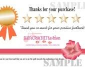 Thank You Card JPG File. Printable DIY Thank You Card, Five Stars