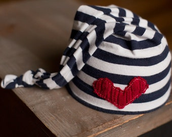 Upcycled Newborn Hat Red White Blue Nautical Patriotic Ready to Ship stocking Hat Photography Prop Sleepy Time Hat Boys Hats Neutral Heart