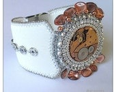 Copper clock - Steampunk glamour silver and white leather bracelet with copper clock mechanism, bead embroidered