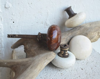 Porcelain Door Knobs/3 Cream White/1 Bennington Style with Iron Shank