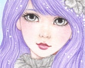 """Winter Dream - ACEO Hand Embellished Limited Edition Print, colored pencil drawing, portrait, fantasy, 2.5 X 3.5"""""""