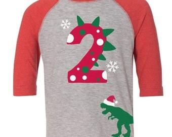Custom Dinosaur Birthday Shirt with Name on Back Dino Birthday Shirt RED Raglan Christmas Dino Shirt Dino Holiday Shirt