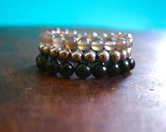 Gemstone Bracelet Set Black Tourmaline Gray Agate Pyrite Beaded Stacking Bracelets Yoga Inspired Spiritual Jewelry Crystal Healing Trio