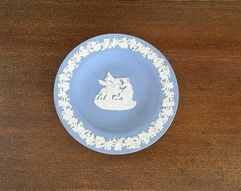 Light Blue Wedgwood Jasperware, Small Round Tray, Trinket Dish, Vanity Dish, Grecian, Pegasus