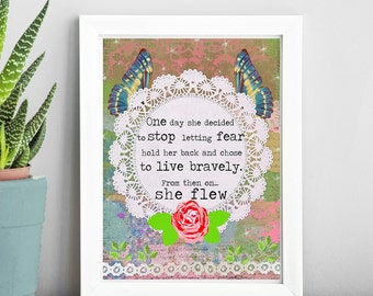 Quote Art Print - Inspirational Quote - Mixed Media Collage - Colorful Art - Rose Art - Word Art