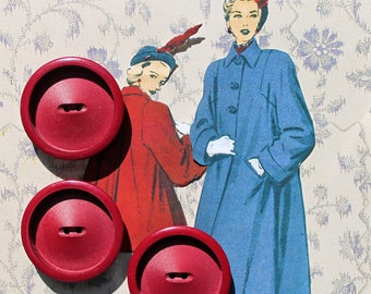 3 Extra Large Red Buttons*Red Large Coat Buttons* Set of 3 Wine Red Buttons