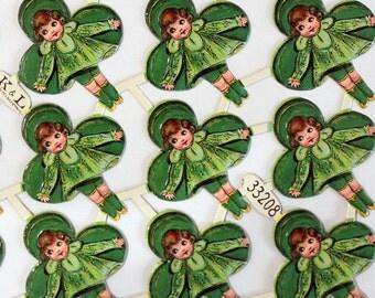 Vintage German Die Cut Scraps*Clover Girls*St Patrick's Day*24 pieces