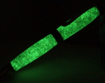 Handcrafted pen glows in the dark in gold and gun metal setting, speckled grey glow in the dark acrylic looks like granite but glows green