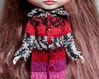BLYTHE doll hand knit long sweater coat - red pink