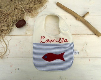 Nautical side snap baby bib, fish baby feeding bibs