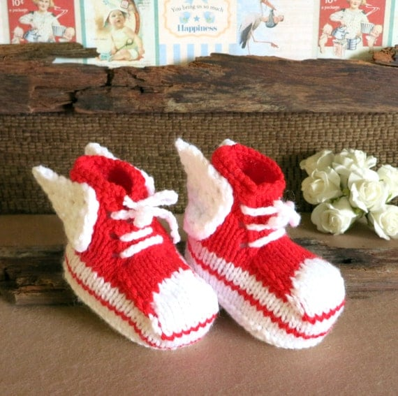 Items similar to Knit Baby Booties Angel Wings Hi Tops Red