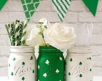 St Patrick's Day Decor - St Patrick's Day Party - St. Patrick's Day Mason Jars - Painted Mason Jars
