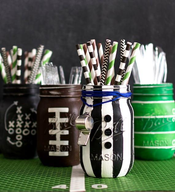Referee Mason Jar - Painted & Distressed Football Mason Jars - Game Day Mason Jars - Football Party