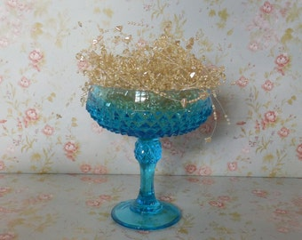 Indiana Glass Compote / Diamond Point / Candy Pedestal / Turquoise Blue Wedding / Something Blue / Baby Shower
