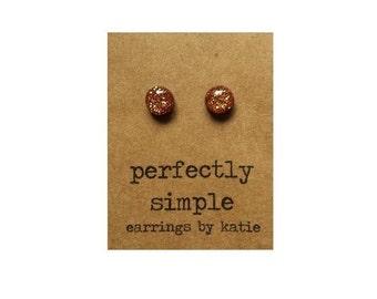 MINI copper glitter stud earrings