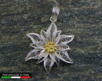 Edelweiss Pendant , Silver filigree - made in Italy