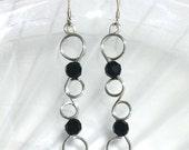 Silver Wire Earrings, Black Swarovski Crystal Earring, Sterling Silver Dangle Earring, Wire Jewelry, Wirework Jewelry, Silver Jewelry