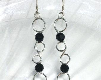 Swirly Earrings, Wire Earrings, Black Swarovski Crystal Earrings, Long Dangle Earring, Silver Wire Jewelry, Silver Dangle Earrings