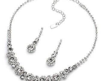 Rhinestone Jewelry Set, Rhinestone Bridal Jewelry Set, Rhinestone Wedding Jewelry Set, Bridesmaid Jewelry Set, Bridesmaid Gift ~JS-1557