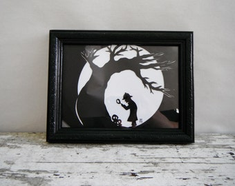 Sleepy Hollow. Ichabod Crane Paper Cut Silhouette