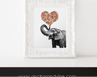 DIGITAL DOWNLOAD  // Elephant Heart Love // Art, Canvas, Poster, Print, Wall Art, Home Decor, Love, Anniversary, Birthday, Gift
