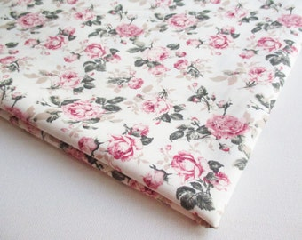 Vintage Rose Fabric, Off-White Little Pink Rose in the Garden wedding, Spring, pink flower bunch, Curtain, dress fabric, CT499