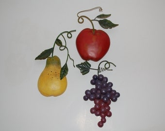 Pear, Apple, and Grapes Wall Hangings
