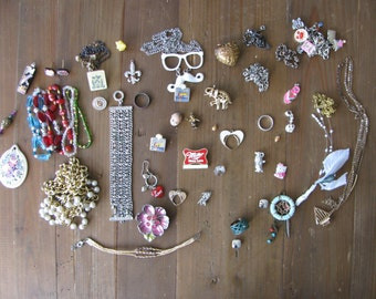 Huge Lot Random Craft Quality Costume Jewlery (Earrings, Necklaces, Necklaces, Charms, etc.)