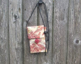 About Town Bag - fabric cross body bag - unique party purse - cotton travel bag - small purse - passport holder - phone carrier - red fern