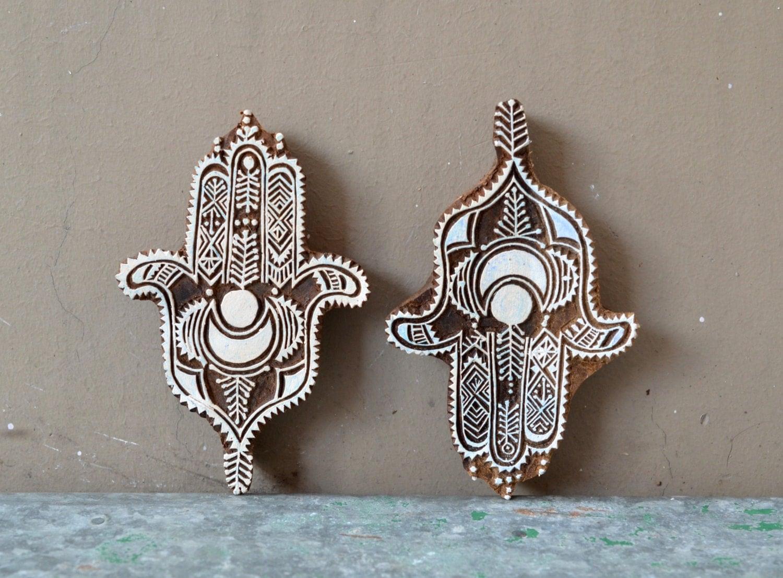 Mehndi Decoration Germany : Hamsa wood block stamp decor tribal indian henna hand of