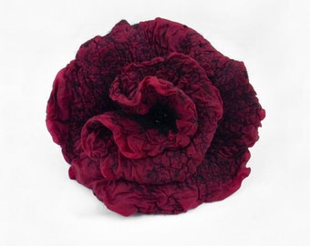 Felted Brooch Nunofelt Brooch PURPLE brooch Silk Flower felt nuno flower nunofelt flower folk boho wool victorian fairy