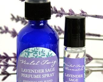 Lavender Perfume Spray - Organic Lavender Perfume - Linen Spray - Aromatherapy - Lavender Room Spray - Lavender & Sage - Lavender Body Spray
