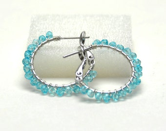 "Genuine Blue Topaz Hoop Earrings (20mm, Beaded 1"") - Sterling Silver Wire Wrapped, Aqua Blue Gemstone, Silver Plated Leverback Hoops"