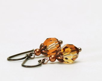 "Crystal Copper Earrings - Amber Crystal on Antique Copper Hypoallergenic Niobium Earwires - Small 1"" Earrings"