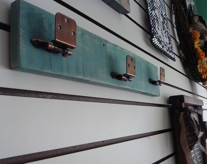 Featured listing image: New Home Gift Rustic Distressed Teal Stained Wooden Hat Rack with Adjustable Vintage Hooks. Beach,Lake Home Decor. Free Shipping!!