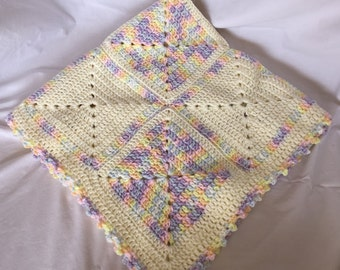 Pale Yellow Pastel Crochet Baby Blanket