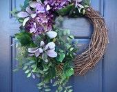 Hydrangea Wreath, Spring Door Wreaths, Purple Wreaths, Spring Hydrangeas, Easter Wreaths, Front Door Wreath, Spring Finds, Mothers Day
