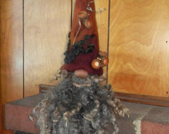 XL Autumn Gnome - needle felted - Fall decoration - long locks - nature
