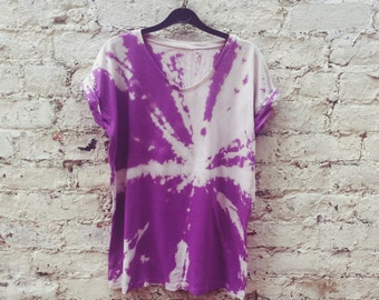 T Shirt Dress Oversize Purple Grunge Tie Dye Dress to fit UK size 6 or US size 2 Festival Dresses