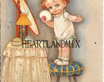 Baby Nursery, Powder Room, vanity Vintage Digital Download Printable Image wall art Illustation