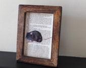 1984 George Orwell rat art print framed book page vintage room 101 big brother novel literature art print dark wood frame
