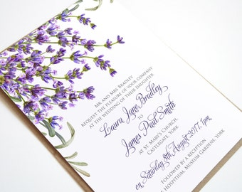 Lavender Wedding Invitation, Rosemary Herb Invitation Bridal Shower - SAMPLE