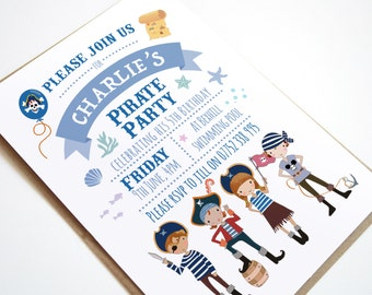 Pirate Birthday Party Invitation, Pirate Party, Children's party Invitations, Cute Pirates