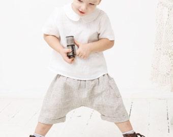 Baby boy pants Sarouel pants Toddler boys harem shorts Linen pants Boys trousers Boys linen clothes Diaper cover