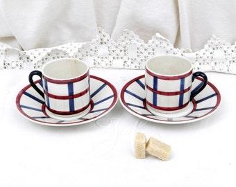 2 Antique French Espresso Cup and Saucer / French  Decor / Country Decor / Retro Vintage Home Interior / Kitchenalia / Coffee Cup / Café