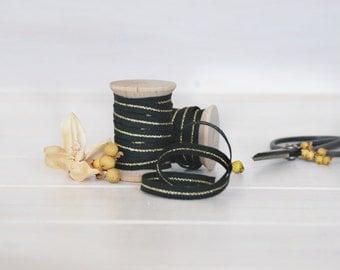 "Black Cotton Ribbon with Gold - 5, 20 or 109 Yards - Ribbons - 1/4"" Wide - Black Trim with Gold - DIY Etsy Weddings - Metallic Black Ribbon"